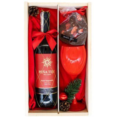 zestaw prezentowy z winem i kieliszkiem